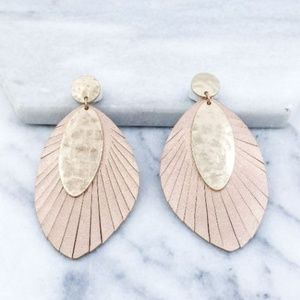 Jewelry - 👻 LAST ONE-FRINGED Leather Feather Earrings
